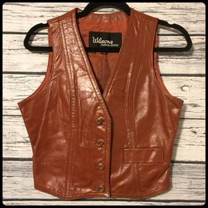 Wilson's suede & leather brown leather vest